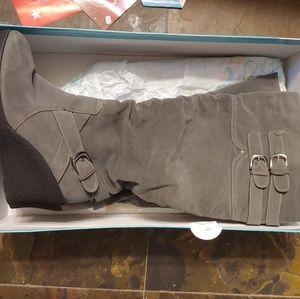 Grey Suede Wide Width Boots